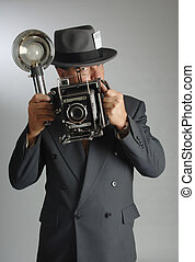Photojournalist vertical - 1940's style photojournalist in ...