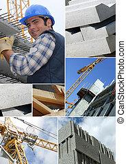 photomontage, 在中, a, 建设工人, 在上, a, 站点