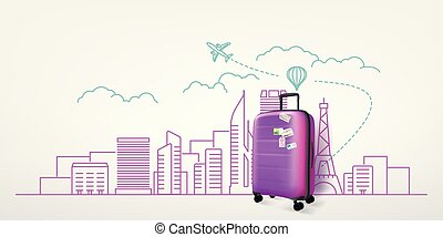 Photoreal violet suitcase with cityscape background. World travel vector concept