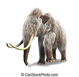 Photorealistic 3 D rendering of a Mammoth. On white...