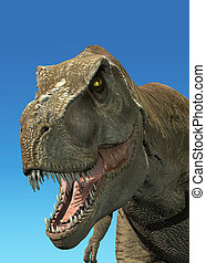 Photorealistic 3 D rendering of a Tyrannosaurus Rex. On blue background with clipping path included.