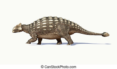 Photorealistic 3 D rendering of an Ankylosaurus. Side view....