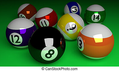 Photorealistic 3d render of all half balls and black ball isolated on green. Billiard table. Shadows and lights. Rendered illustration.