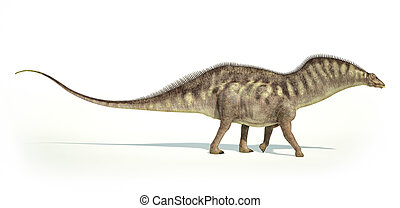 Photorealistic and scientifically correct representation of an Amargasaurus dinosaur. Side view. On white background with drop shadow and clipping path included.