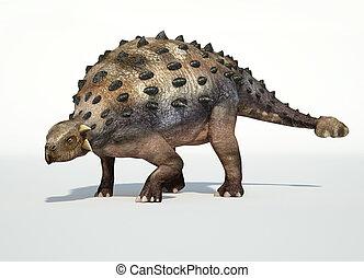 photorealistic, ankylosaurus., 3, interpretación, d