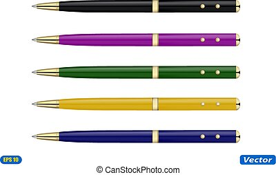 ballpoint pen isolated on white background vector illustration
