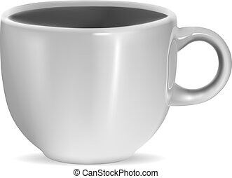 Photorealistic blank white cup with reflection