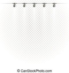 Stadium Lights Shiny Projectors Isolated Vector Spotlight Template
