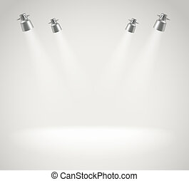 Photorealistic bright stage with spot lights. Presentation vector template
