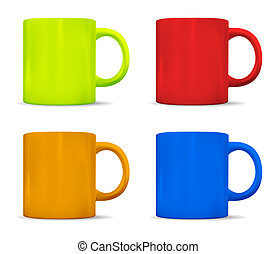 Photorealistic colorful cups. Vector illustration