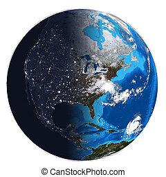 photorealistic, earth., día, noche