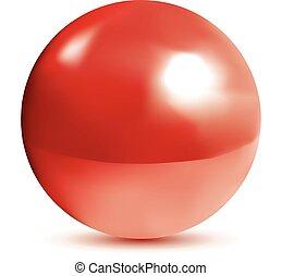 photorealistic, fényes, piros, gömb
