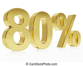 Photorealistic golden rendering of a symbol for 80 % discount
