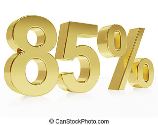 Photorealistic golden rendering of a symbol for 85 % discount