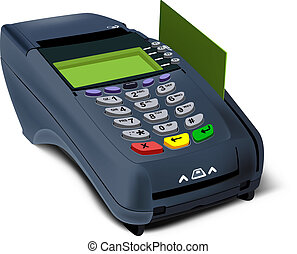 Photorealistic illustration of modern POS-terminal with Credit card inserted