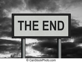Photorealistic image of a reflective metallic roadsign saying 'The End', against a desaturated stormy sky.