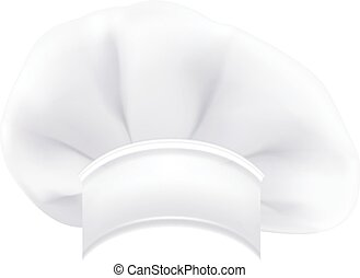 Photorealistic Modern White Chef Hat Isolated On A White Background. Vector Illustration.