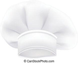photorealistic, neposkvrněný, vrchní kuchař, nebo, vařit, nebo, pekař, klobouk, osamocený, dále, jeden, neposkvrněný, grafické pozadí., vektor, ilustrace