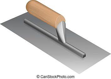 Photorealistic plastering trowel with wooden handle on white...