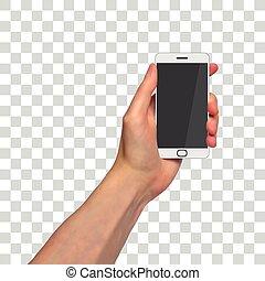 photorealistic, smartphone, transparente, plano de fondo, mano