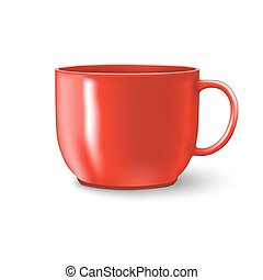 photorealistic, taza roja