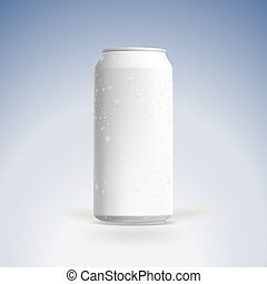 Photorealistic vector beer can mockup with water drops.