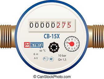 Photorealistic water meter on white background
