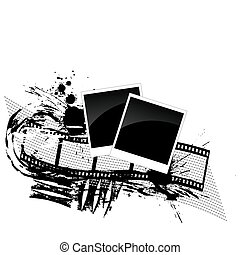 photos and filmstrip - grunge style - vector illustration of...