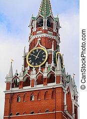 Photos bright Spasskaya Tower in the Moscow Kremlin