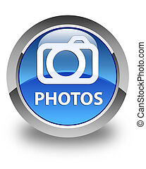 Photos (camera icon) glossy blue round button