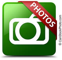 Photos (camera icon) green square button red ribbon in corner