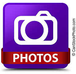 Photos (camera icon) purple square button red ribbon in middle