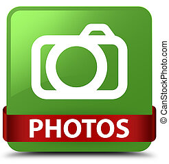 Photos (camera icon) soft green square button red ribbon in middle