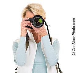 photos, femme aînée, prendre