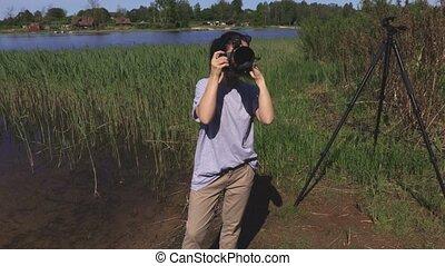 photos, femme, appareil photo, prendre, professionnel