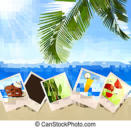 Photos from holidays on a seaside Summer holidays concept...