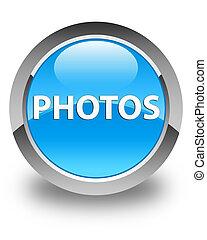 Photos glossy cyan blue round button