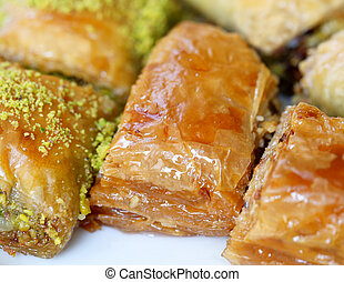 Photos honey baklava - Photo macro colorful delicious honey...
