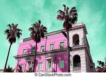 Photos of bright houses and palm trees
