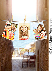 photos of holiday people hanging on clothesline