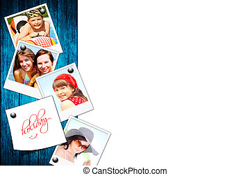 photos of holiday people on wood board