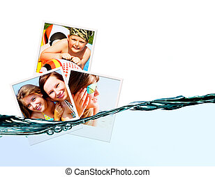 photos of holiday people with water