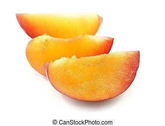 Photos of macro slices of plum