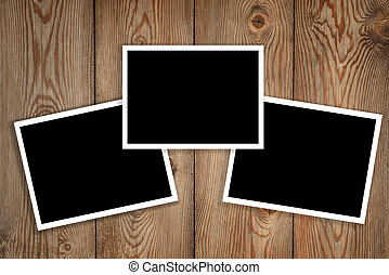 photos on a wood background