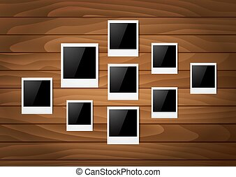 Photos on a wooden wall