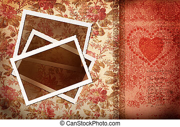 Photos on antique floral background - Old photos on antique...