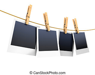 photos on clothesline - 3d illustration of photos on rope,...