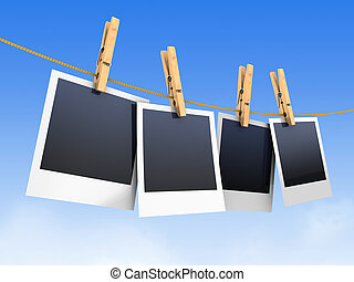 photos on clothesline