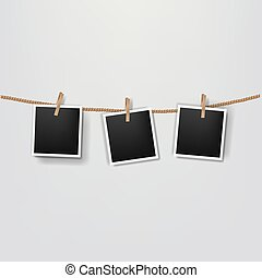 Photos On The Rope Grey Background