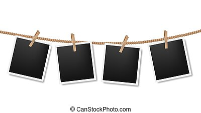 Photos On The Rope White Background